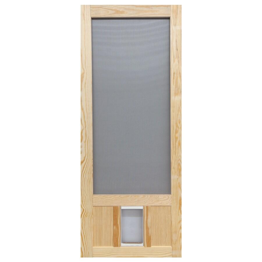 Screen Tight Chesapeake Wood Wood Hinged Screen Door with Pet Door (Common: 36-in x 80-in; Actual: 36-in x 80-in)