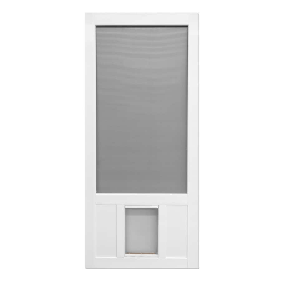 Screen Tight Chesapeake White Vinyl Hinged Screen Door with Pet Door (Common: 32-in x 80-in; Actual: 32-in x 80-in)