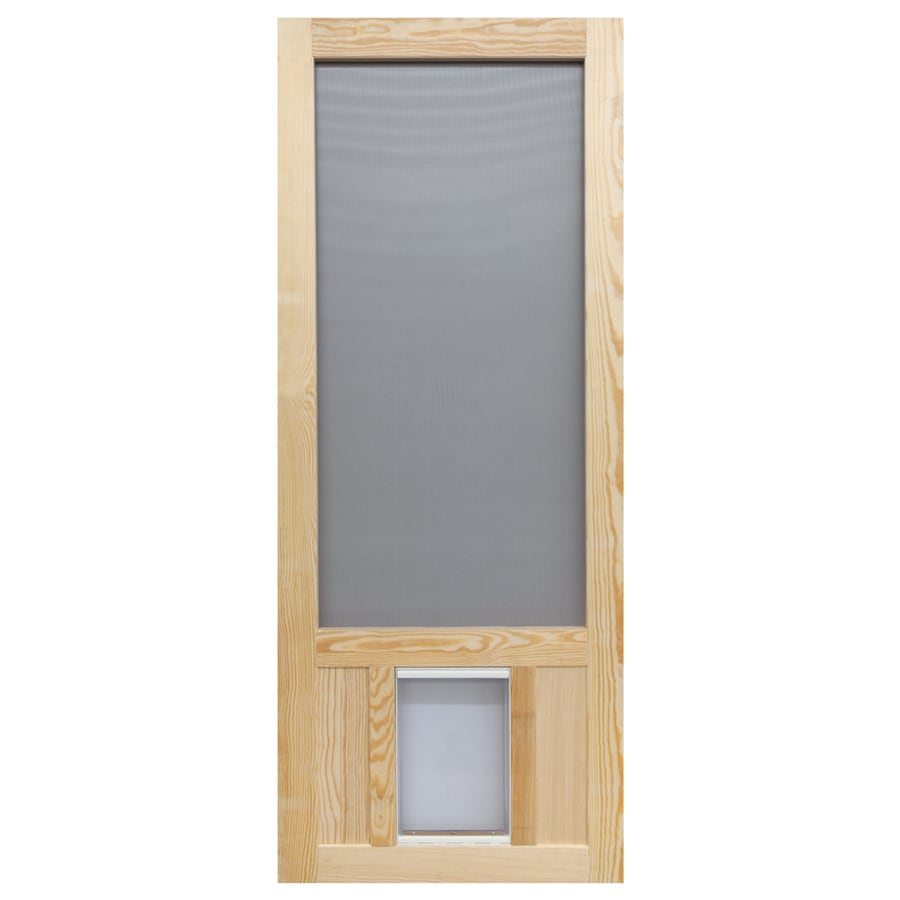 Shop screen tight chesapeake wood wood hinged screen door for Entry door with built in screen