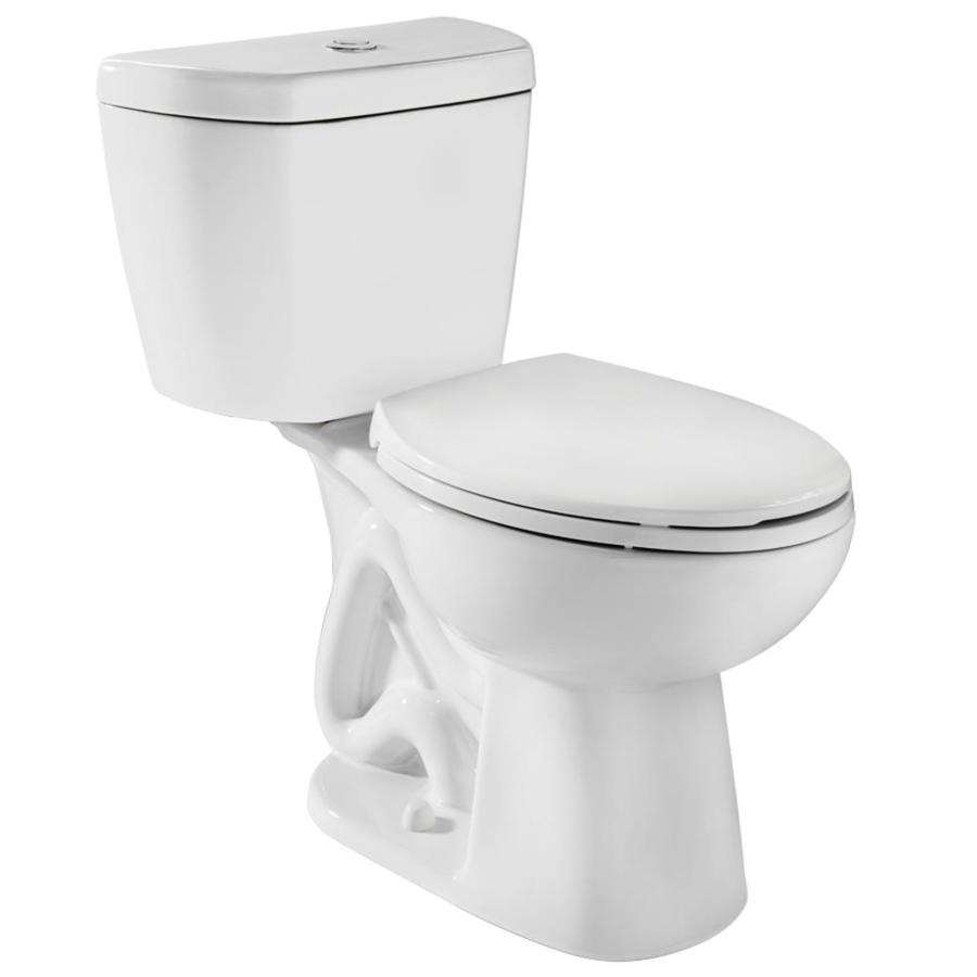 Stealth White 0.8-GPF (3.03-LPF) 12-in Rough-in WaterSense Round Pressure Assist 2-Piece Standard Height Toilet Product Photo