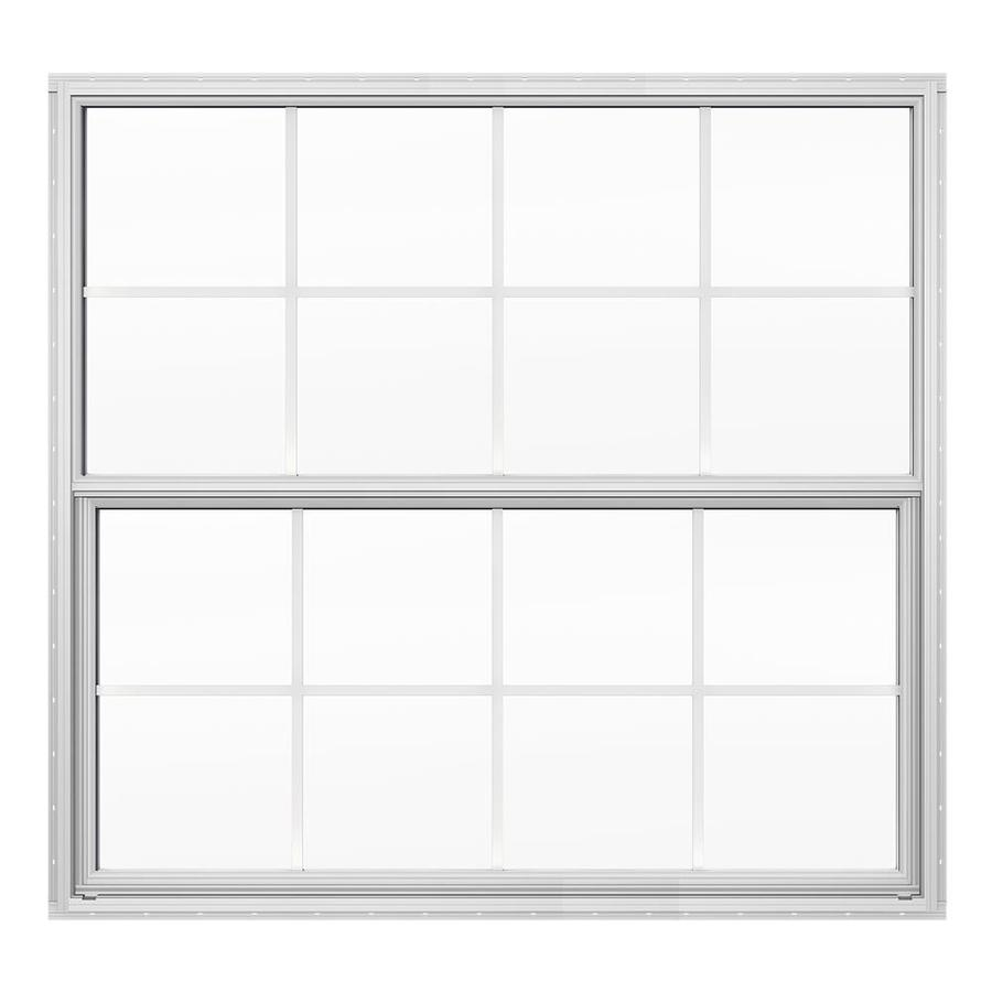 JELD-WEN 4100 Series Aluminum Double Pane Double Strength Replacement Single Hung Window (Rough Opening: 52.625-in x 49.875-in; Actual: 52.125-in x 49.625-in)