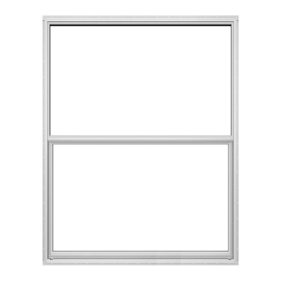 JELD-WEN 4100 Series Aluminum Single Pane Double Strength Replacement Single Hung Window (Rough Opening: 18.625-in x 25.25-in; Actual: 18.125-in x 25-in)