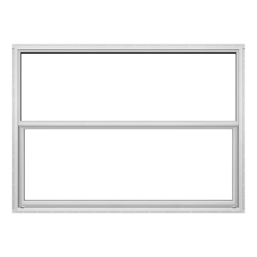 JELD-WEN 4100 Series Aluminum Single Pane Double Strength Replacement Single Hung Window (Rough Opening: 52.625-in x 37.625-in; Actual: 52.125-in x 37.375-in)
