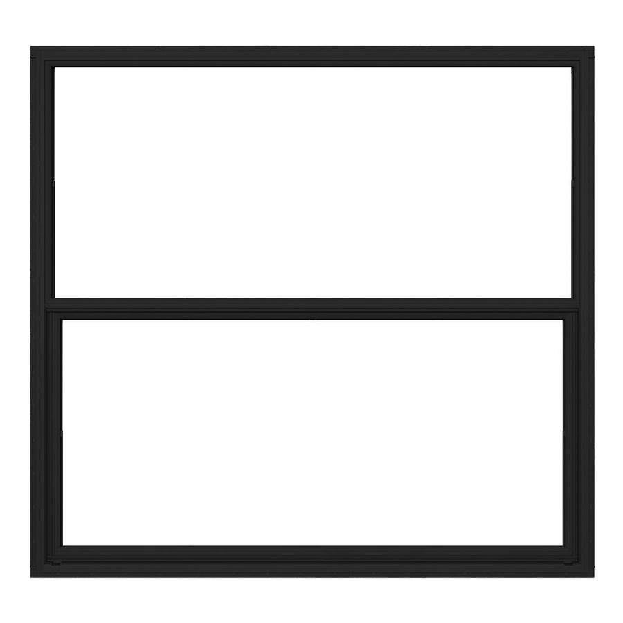 JELD-WEN 4100 Series Aluminum Single Pane Double Strength Replacement Single Hung Window (Rough Opening: 52.625-in x 49.875-in; Actual: 52.125-in x 49.625-in)