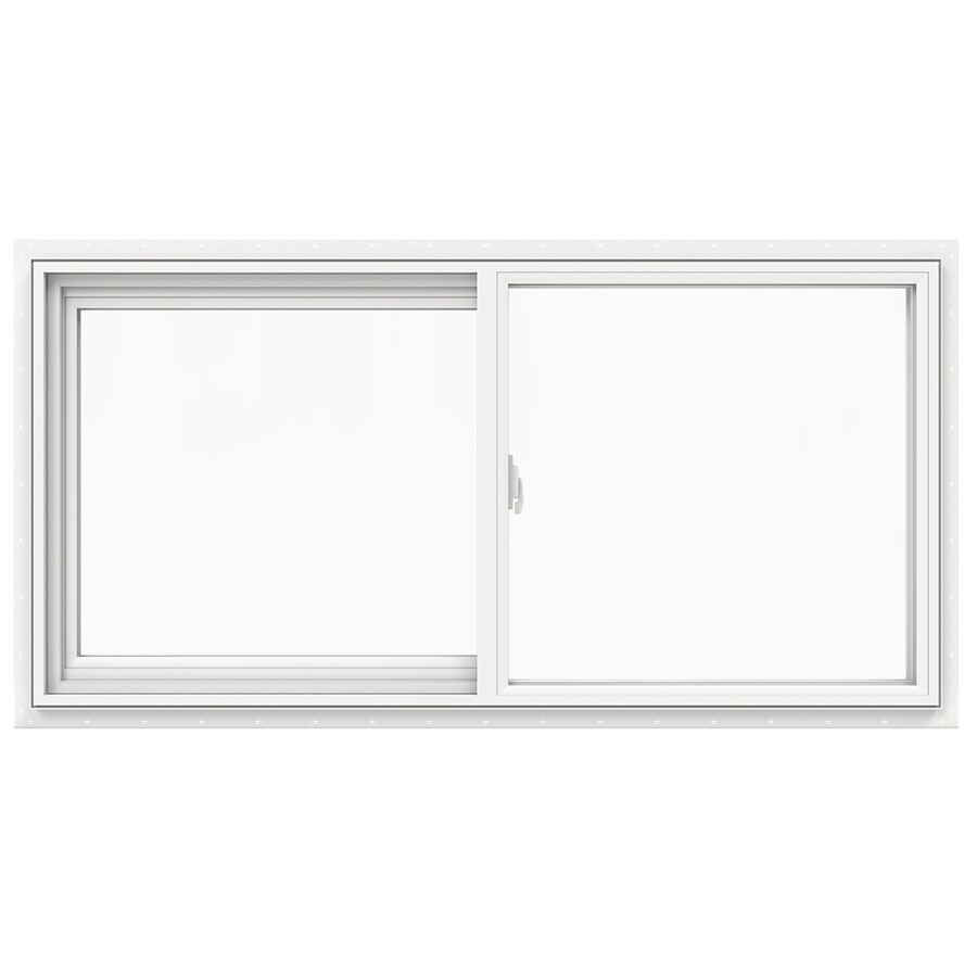 JELD-WEN V2500 Left-Operable Vinyl Double Pane Double Strength New Construction Sliding Window (Rough Opening: 48-in x 24-in; Actual: 47.5-in x 23.5-in)