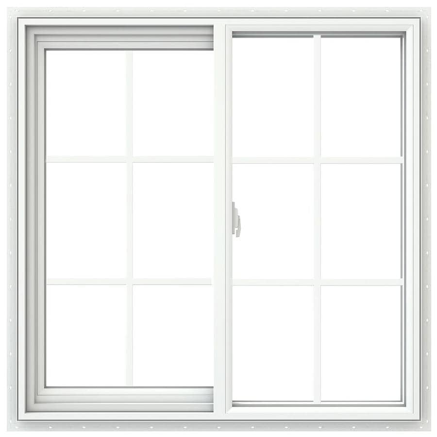 JELD-WEN V2500 Left-Operable Vinyl Double Pane Double Strength New Construction Sliding Window (Rough Opening: 36-in x 36-in; Actual: 35.5-in x 35.5-in)