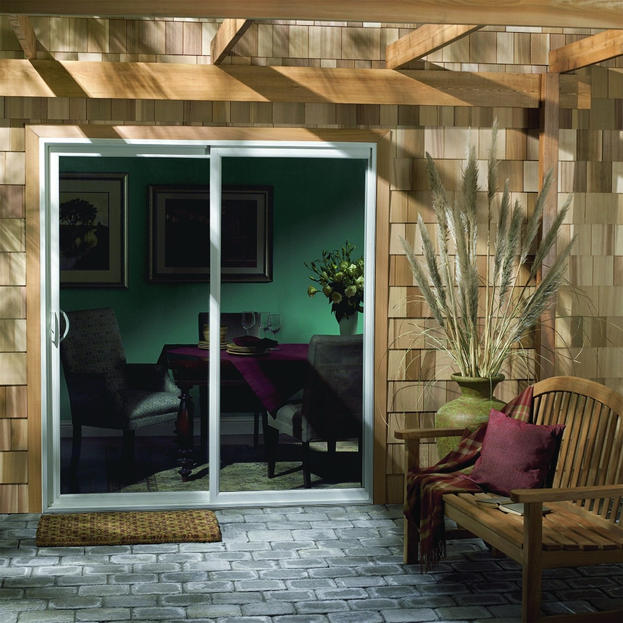 JELD-WEN 59.5-in 1-Lite Glass White Vinyl Sliding Patio Door with Screen