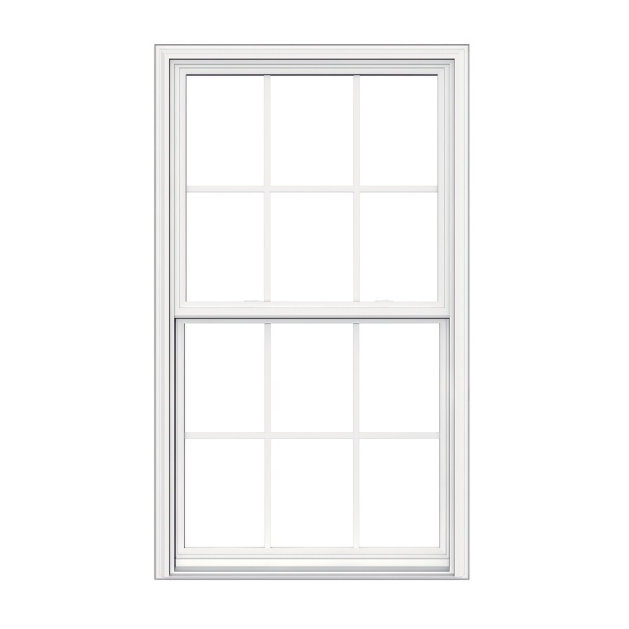JELD-WEN V2500 Vinyl Double Pane Double Strength Replacement Double Hung Window (Rough Opening: 32-in x 54-in Actual: 31.5-in x 53.5-in)