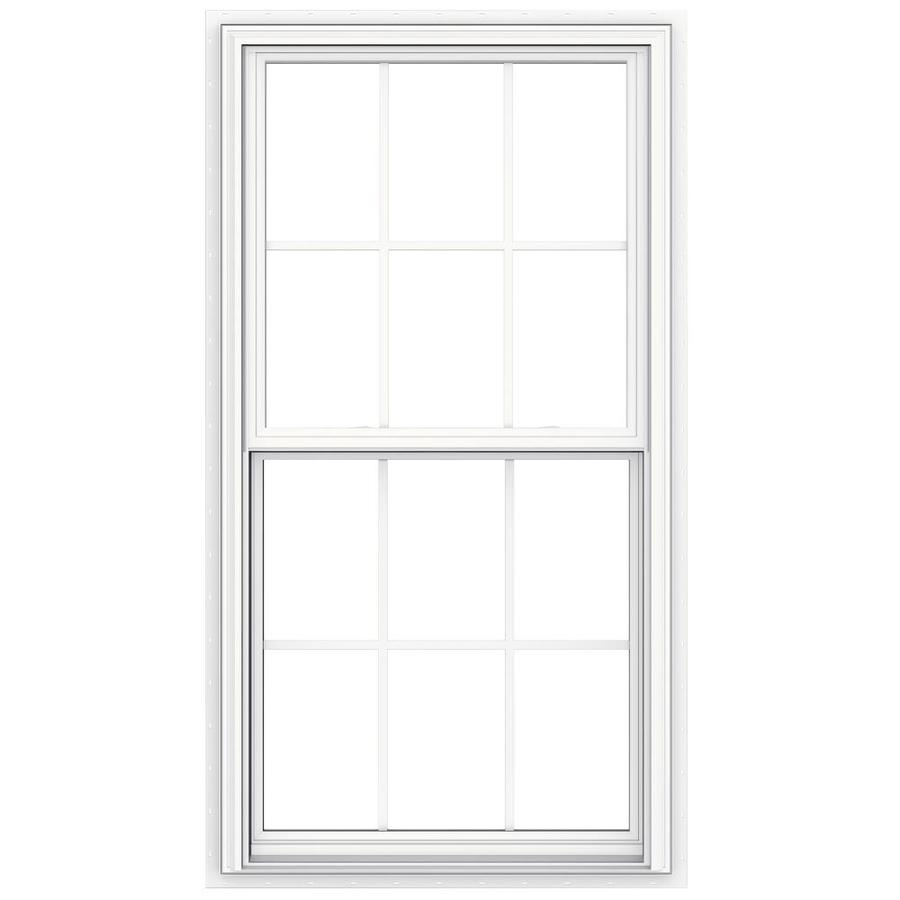 JELD-WEN V2500 Vinyl Double Pane Double Strength New Construction Double Hung Window (Rough Opening: 32-in x 60-in Actual: 31.5-in x 59.5-in)