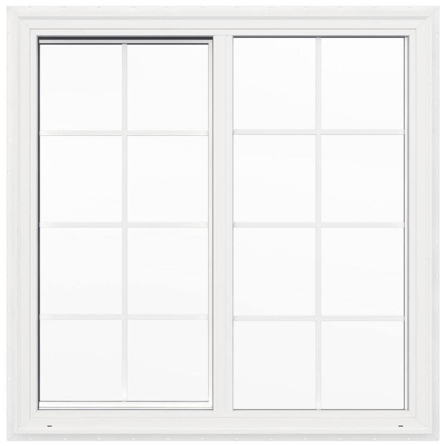 JELD-WEN V2500 Left-Operable Vinyl Double Pane Double Strength New Construction Sliding Window (Rough Opening: 48-in x 48-in; Actual: 47.5-in x 47.5-in)