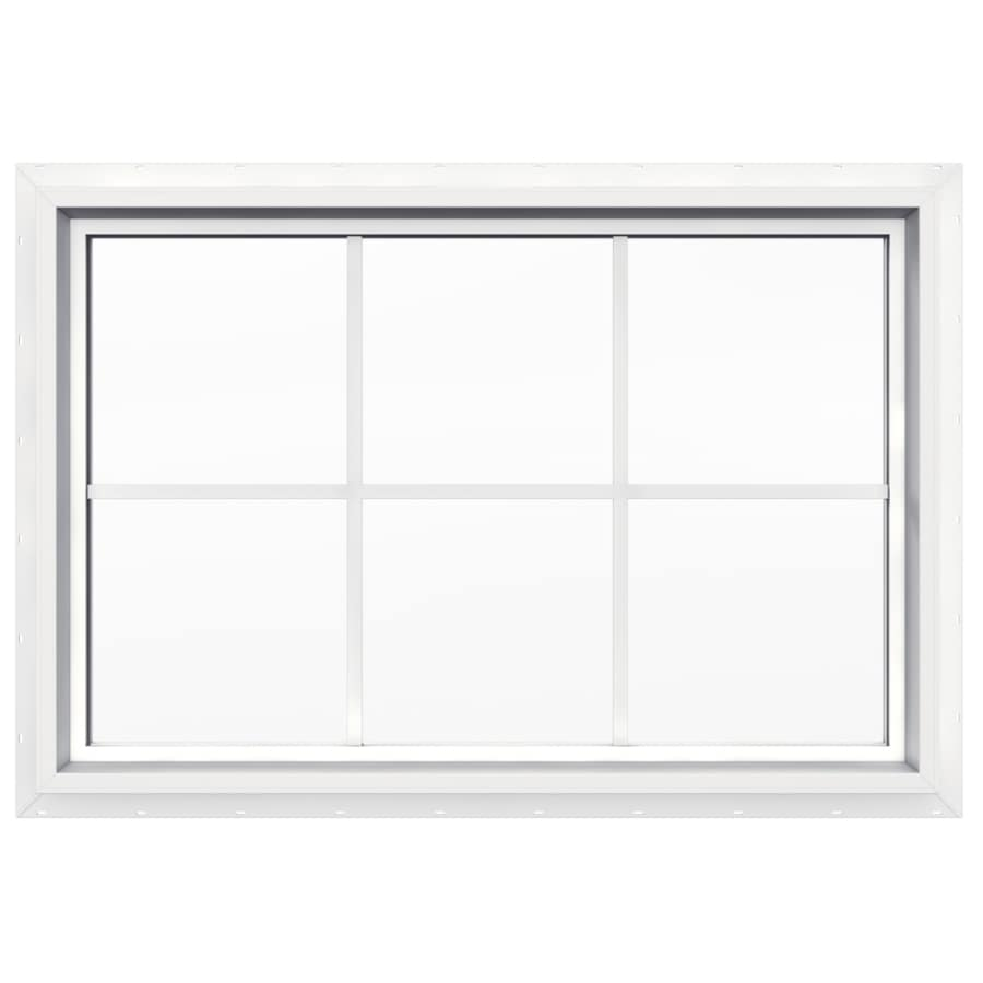JELD-WEN 36-in x 24-in V4500 Double Pane Double Strength Rectangle New Construction Window