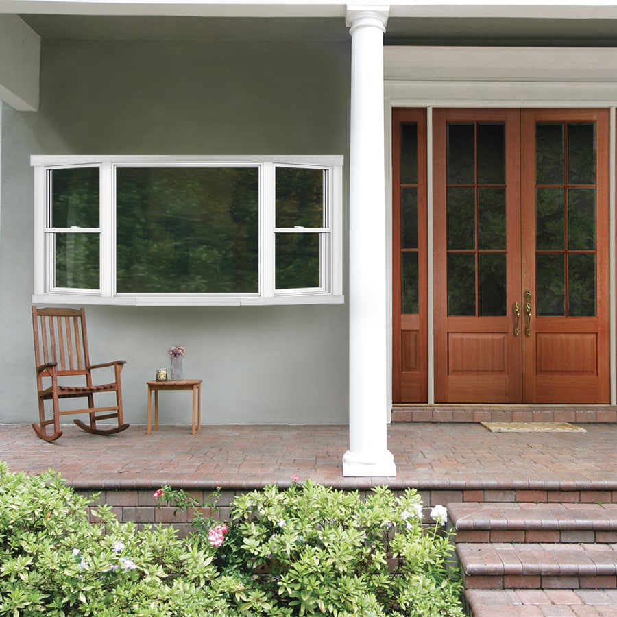 JELD-WEN V2500 Single-Hung Vinyl Double Pane Double Strength New Construction Bay Window (Rough Opening: 81.5-in x 50.5-in Actual: 81-in x 50-in)