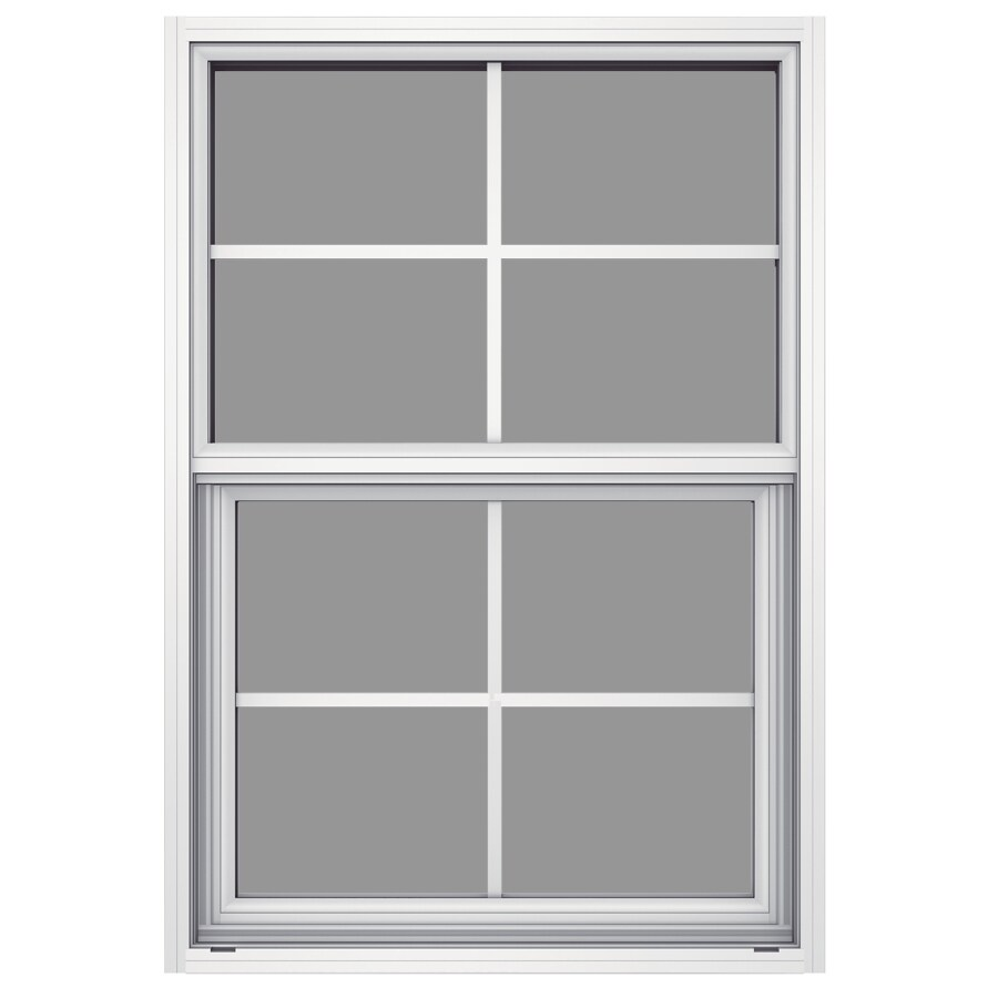 JELD-WEN Builders Aluminum Aluminum Single Pane Annealed Single Hung Window (Rough Opening: 26-in x 37.625-in; Actual: 25.5-in x 37.375-in)
