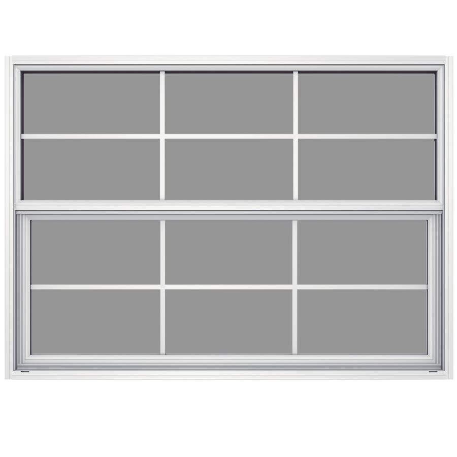 JELD-WEN Builders Aluminum Aluminum Single Pane Annealed Single Hung Window (Rough Opening: 52.625-in x 37.625-in; Actual: 52.125-in x 37.375-in)