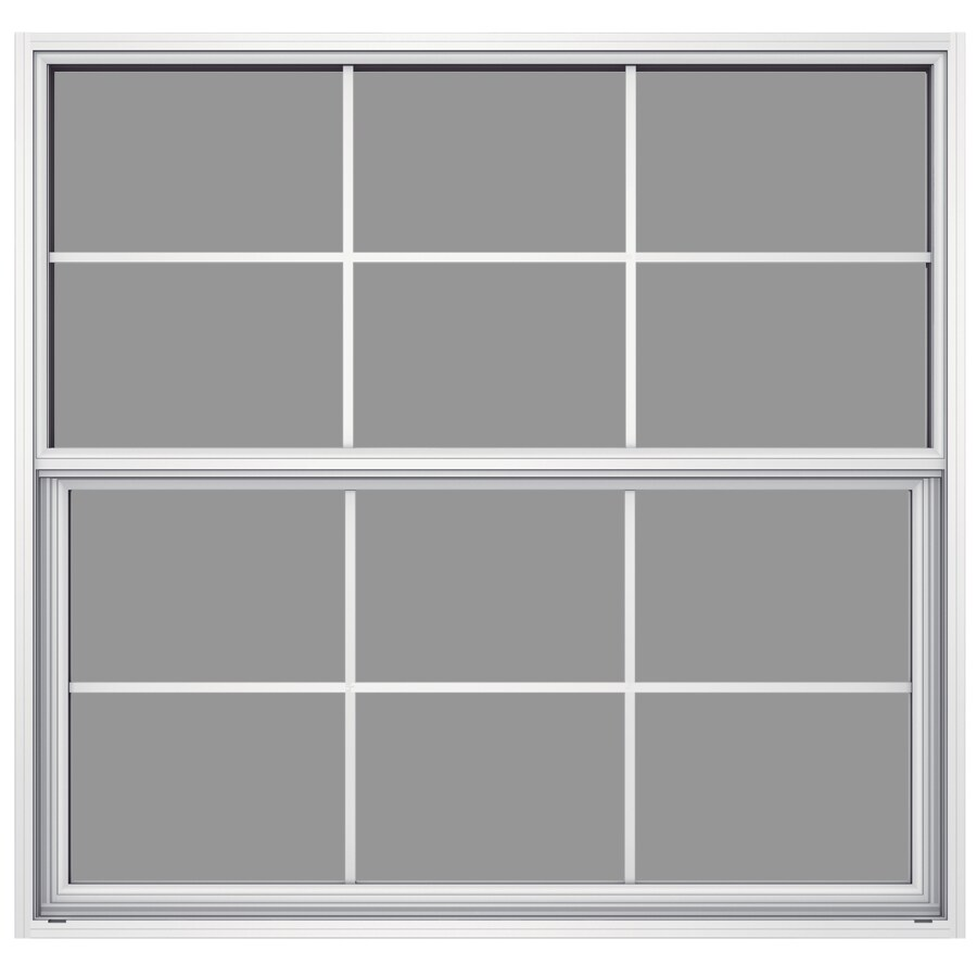 JELD-WEN Builders Aluminum Aluminum Single Pane Annealed Single Hung Window (Rough Opening: 52.625-in x 49.875-in; Actual: 52.125-in x 49.625-in)