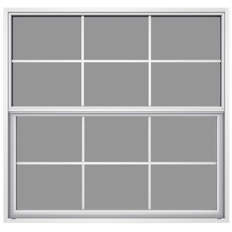 JELD-WEN Builders Aluminum Aluminum Single Pane Annealed Single Hung Window (Rough Opening: 52.625-in x 49.875-in; Actual: 52.125-in x 49.625-in)
