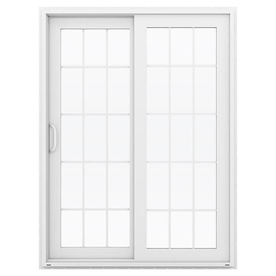 Shop JELD WEN V 4500 59 5 In 15 Lite Glass White Vinyl Sliding Patio Door Wit