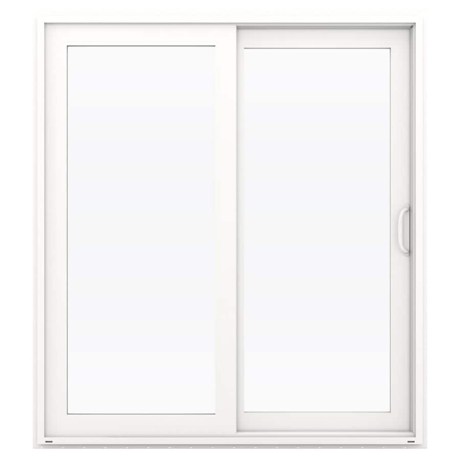 JELD-WEN V-4500 71.5-in 1-Lite Glass White Vinyl Sliding Patio Door with Screen