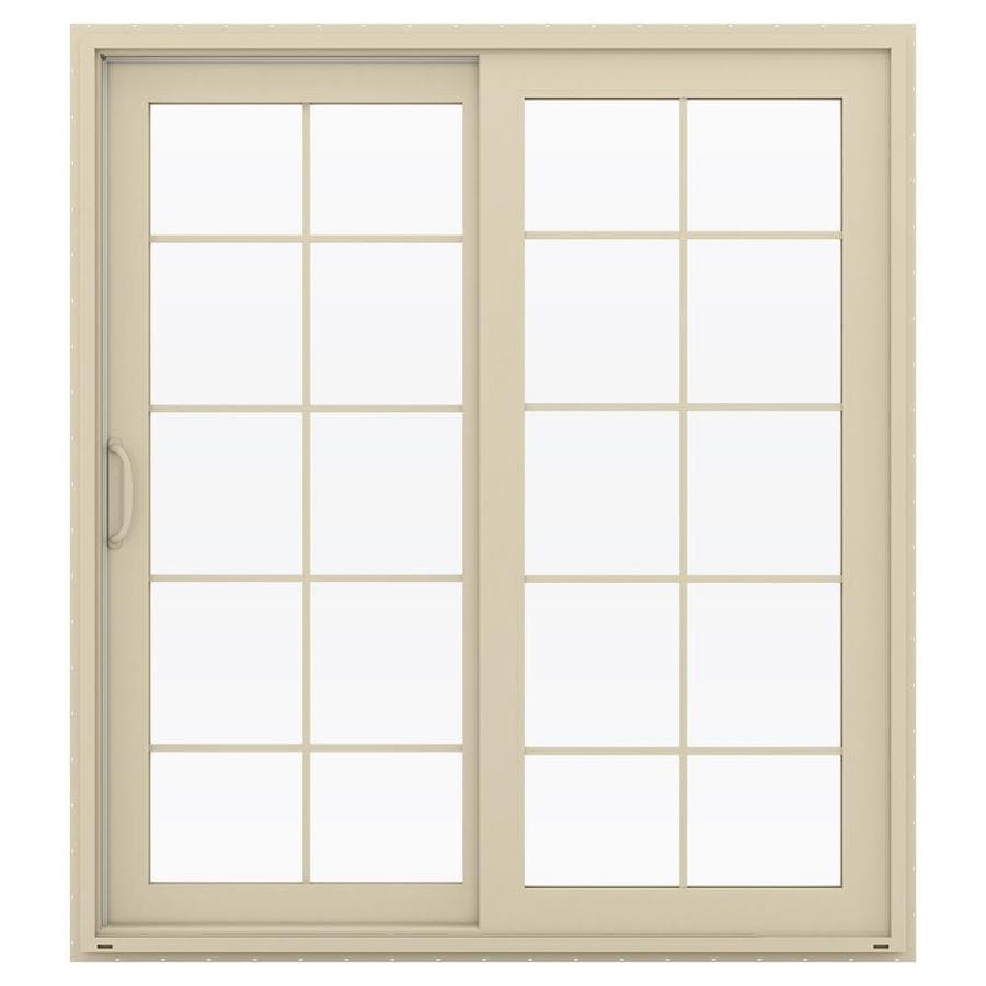 JELD-WEN V-4500 71.5-in 10-Lite Glass Almond Vinyl Sliding Patio Door Screen Included