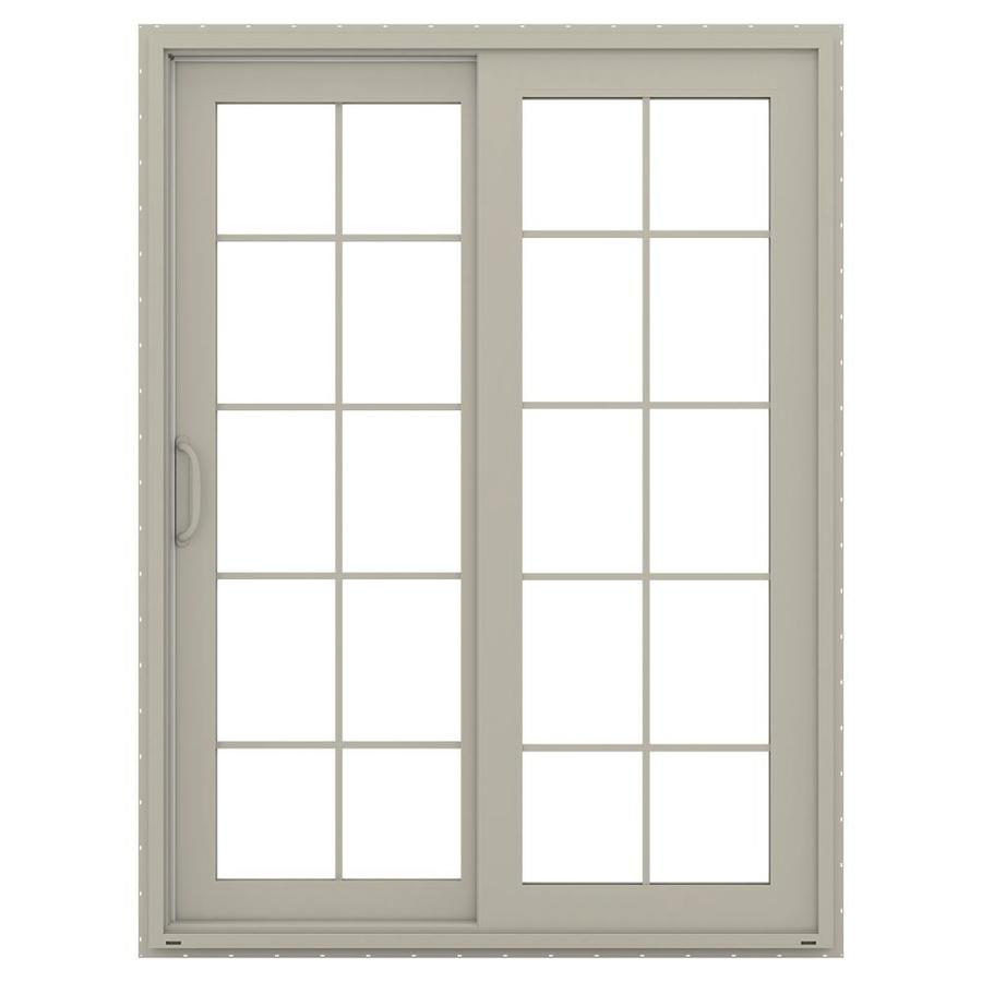 JELD-WEN V-4500 59.5-in 10-Lite Glass Desert Sand Vinyl Sliding Patio Door with Screen