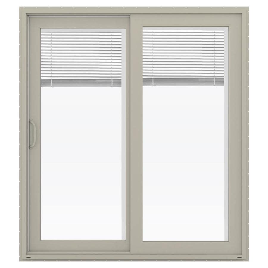 JELD-WEN V-4500 71.5-in Blinds Between the Glass Desert Sand Vinyl Sliding Patio Door with Screen