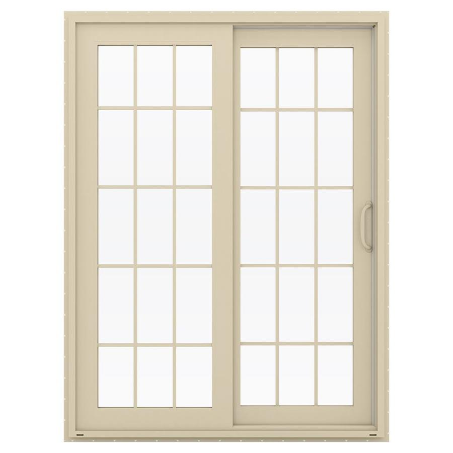 JELD-WEN V-4500 59.5-in 15-Lite Glass Almond Vinyl Sliding Patio Door with Screen