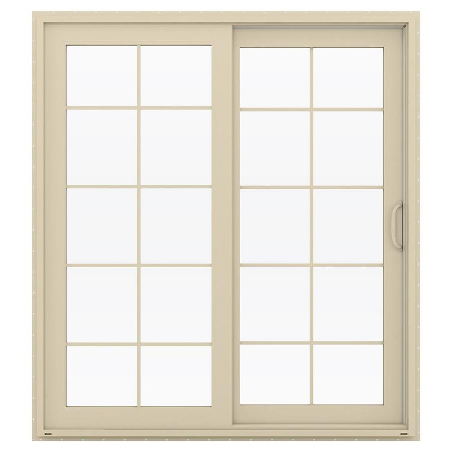 JELD-WEN V-4500 71.5-in 10-Lite Glass Almond Vinyl Sliding Patio Door with Screen