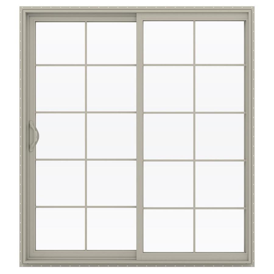 JELD-WEN V-2500 71.5-in 10-Lite Glass Desert Sand Vinyl Sliding Patio Door with Screen