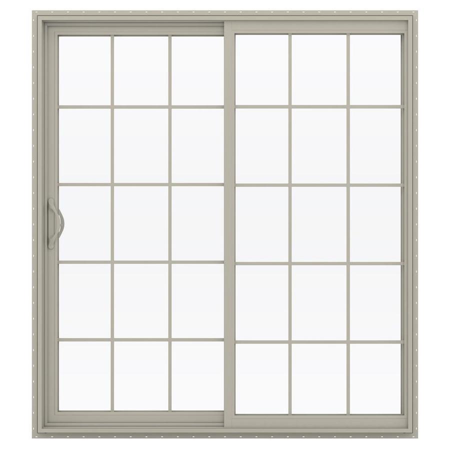 JELD-WEN V-2500 71.5-in 15-Lite Glass Desert Sand Vinyl Sliding Patio Door with Screen