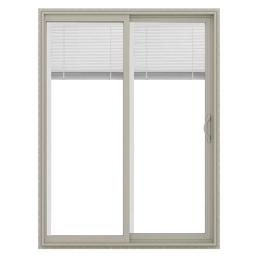JELD-WEN V-2500 59.5-in Blinds Between the Glass Desert Sand Vinyl Sliding Patio Door with Screen