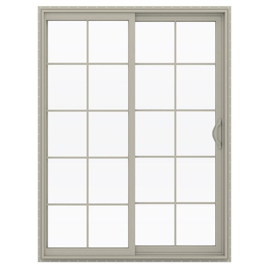 JELD-WEN V-2500 59.5-in 10-Lite Glass Desert Sand Vinyl Sliding Patio Door with Screen