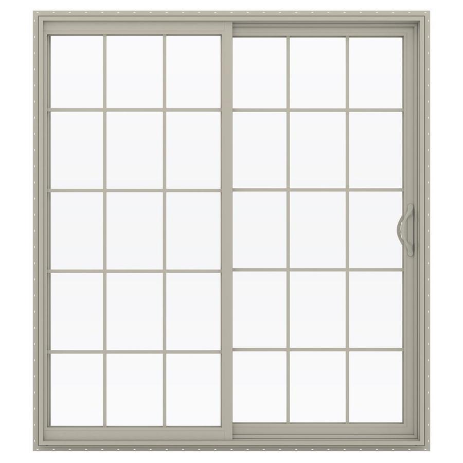JELD-WEN V-2500 71.5-in 15-Lite Glass Desert Sand Vinyl Sliding Patio Door Screen Included