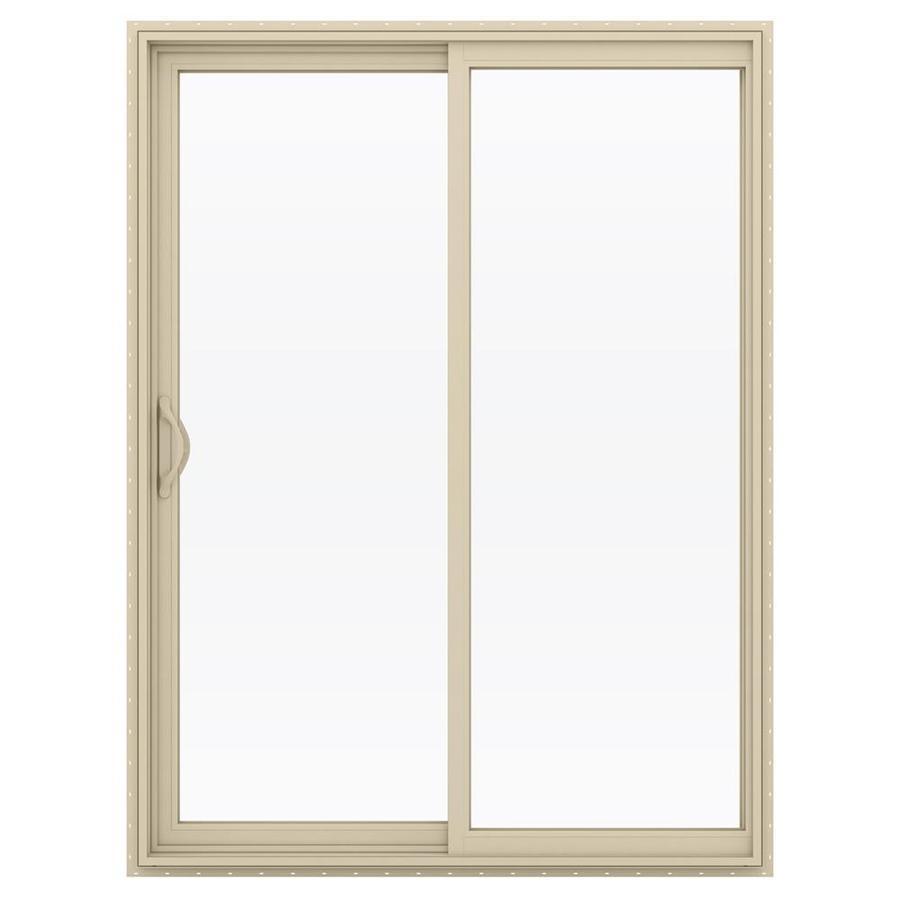JELD-WEN V-2500 59.5-in 1-Lite Glass Almond Vinyl Sliding Patio Door with Screen