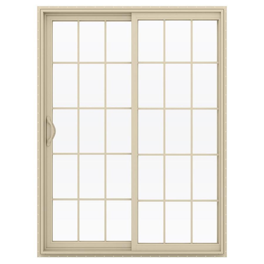 JELD-WEN V-2500 59.5-in 15-Lite Glass Almond Vinyl Sliding Patio Door with Screen