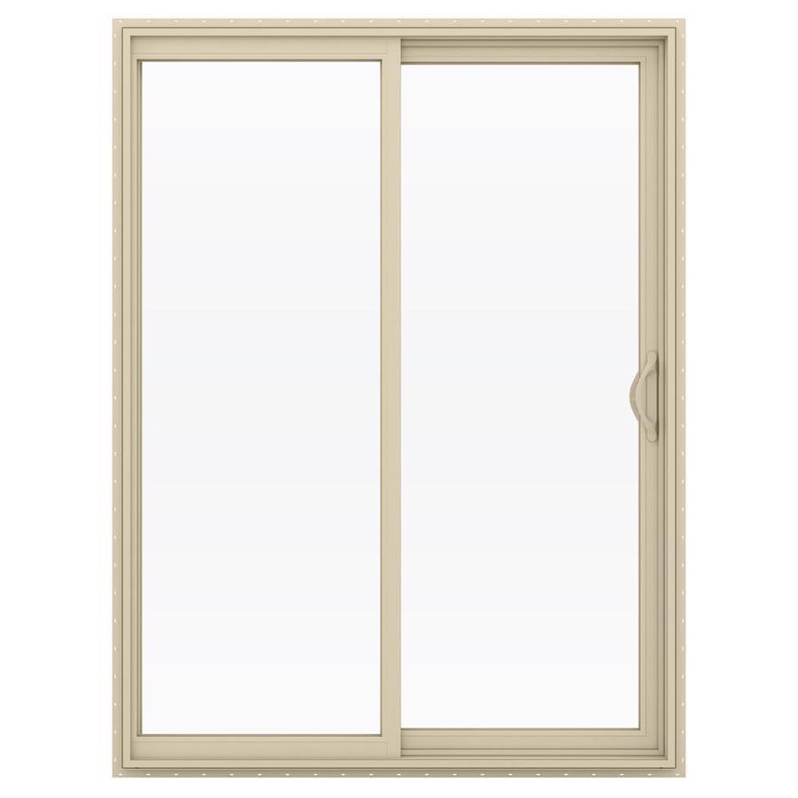 Shop jeld wen v 2500 59 5 in 1 lite glass almond vinyl for Vinyl sliding glass doors
