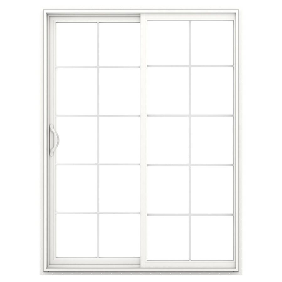 JELD-WEN V-2500 59.5-in 10-Lite Glass White Vinyl Sliding Patio Door with Screen