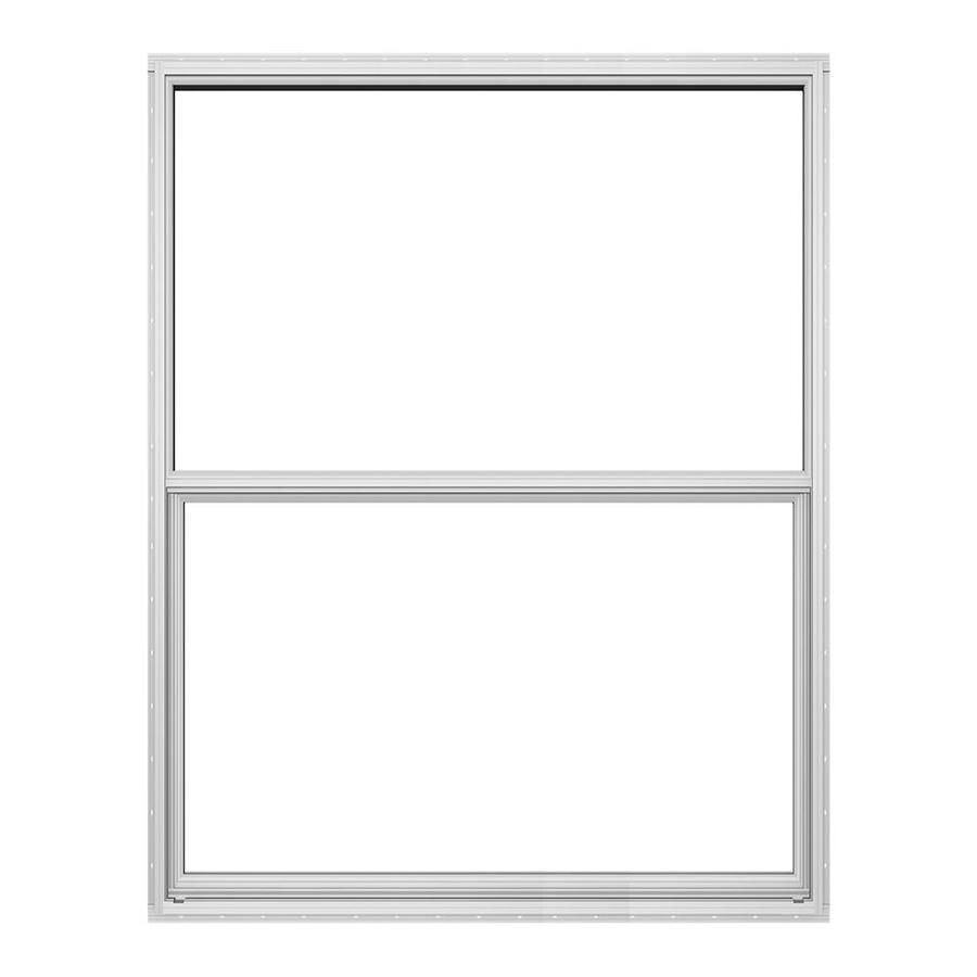 JELD-WEN Builders Florida Aluminum Aluminum Double Pane Double Strength Single Hung Window (Rough Opening: 24-in x 36-in; Actual: 23.5-in x 35.5-in)