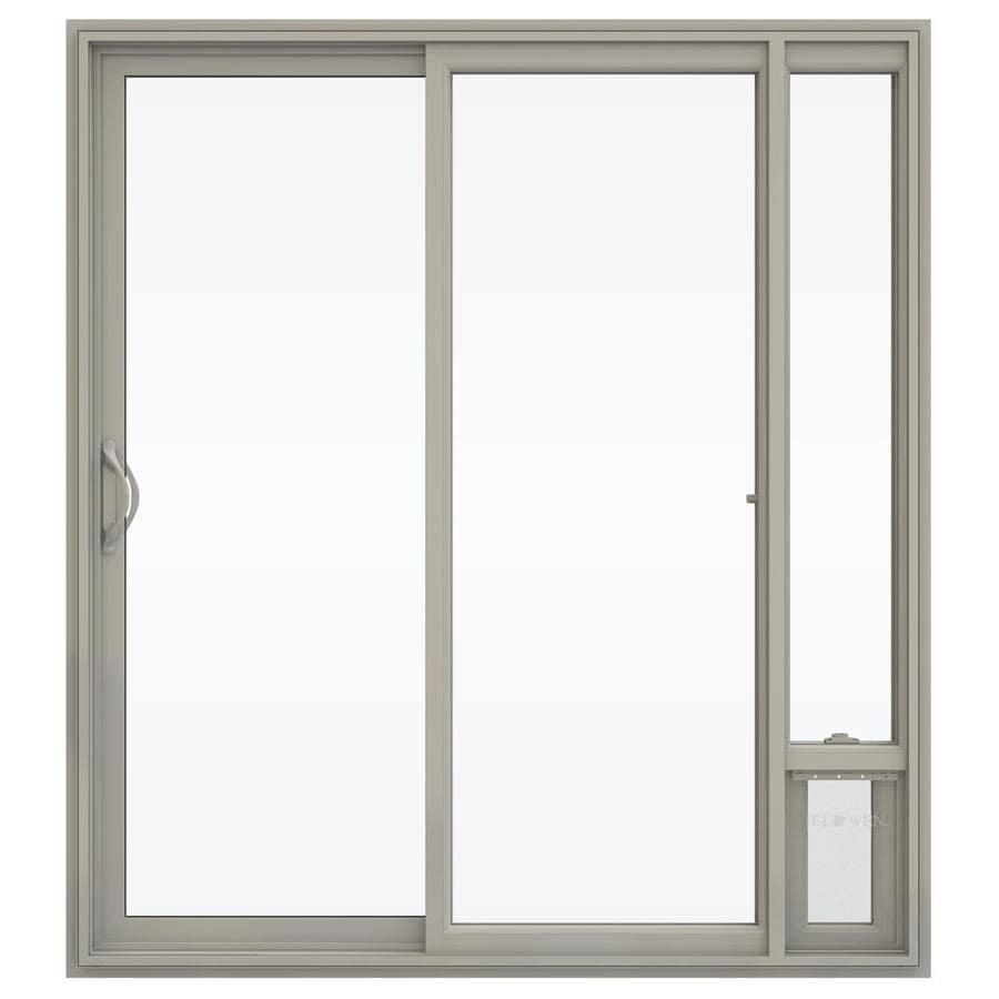 JELD-WEN V-2500 71.5-in 1-Lite Glass Desert Sand Vinyl Sliding Patio Door with Screen