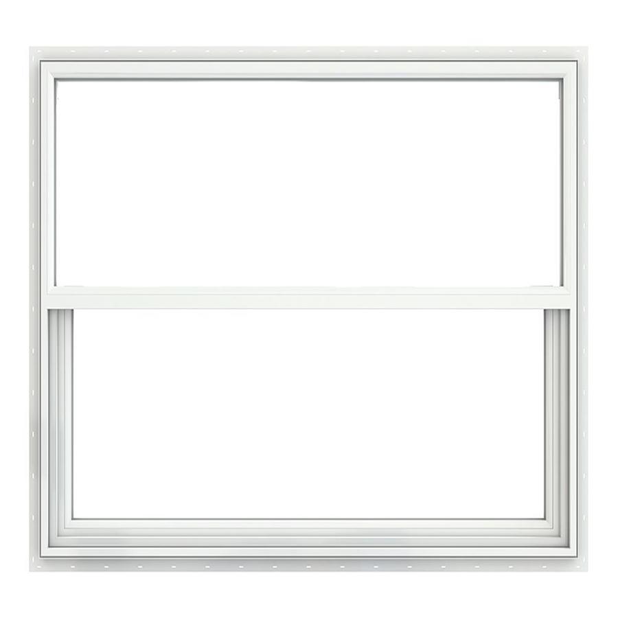 JELD-WEN Builders Vinyl Vinyl Double Pane Annealed Single Hung Window (Rough Opening: 52.375-in x 49.875-in; Actual: 51.875-in x 49.375-in)
