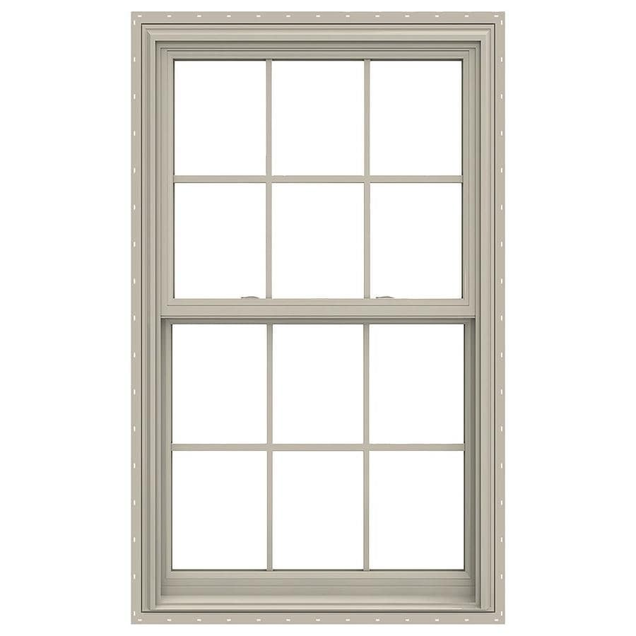 JELD-WEN V-2500 Vinyl Double Pane Annealed Double Hung Window (Rough Opening: 32-in x 54-in; Actual: 31.5-in x 53.5-in)