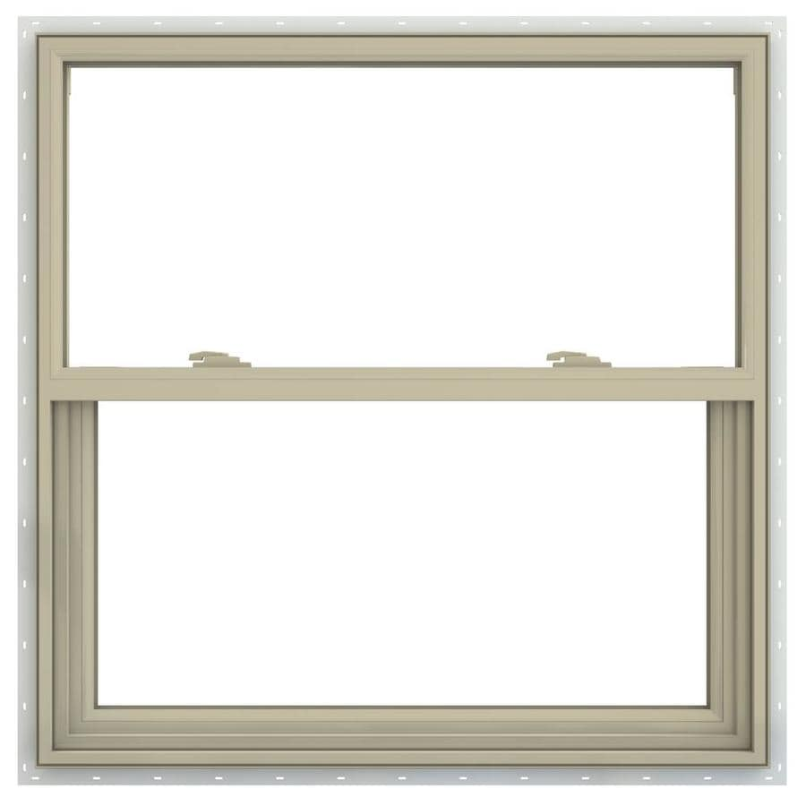 JELD-WEN V-2500 Vinyl Double Pane Annealed Single Hung Window (Rough Opening: 36-in x 36-in; Actual: 35.5-in x 35.5-in)