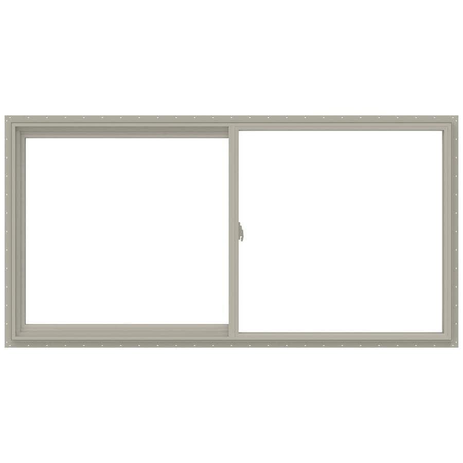 JELD-WEN V-2500 Left-Operable Vinyl Double Pane Annealed Sliding Window (Rough Opening: 48-in x 24-in; Actual: 47.5-in x 23.5-in)
