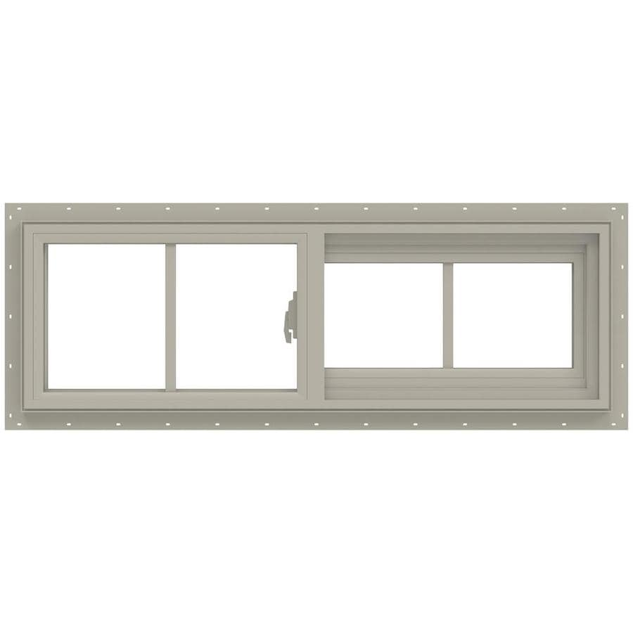 JELD-WEN V-2500 Right-Operable Vinyl Double Pane Annealed Sliding Window (Rough Opening: 36-in x 12-in; Actual: 35.5-in x 11.5-in)