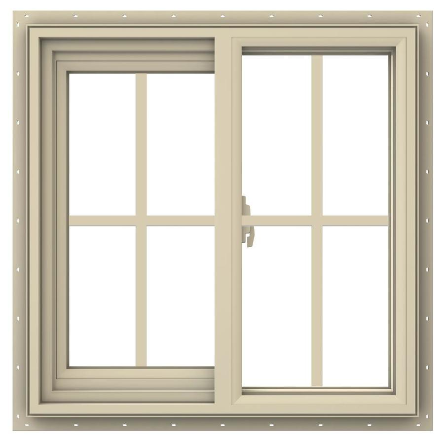 JELD-WEN V-2500 Left-Operable Vinyl Double Pane Annealed Sliding Window (Rough Opening: 24-in x 24-in; Actual: 23.5-in x 23.5-in)