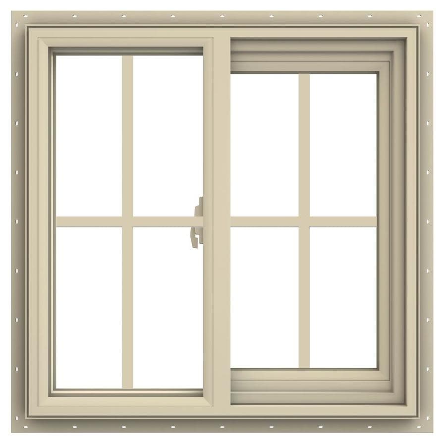JELD-WEN V-2500 Right-Operable Vinyl Double Pane Annealed Sliding Window (Rough Opening: 24-in x 24-in; Actual: 23.5-in x 23.5-in)