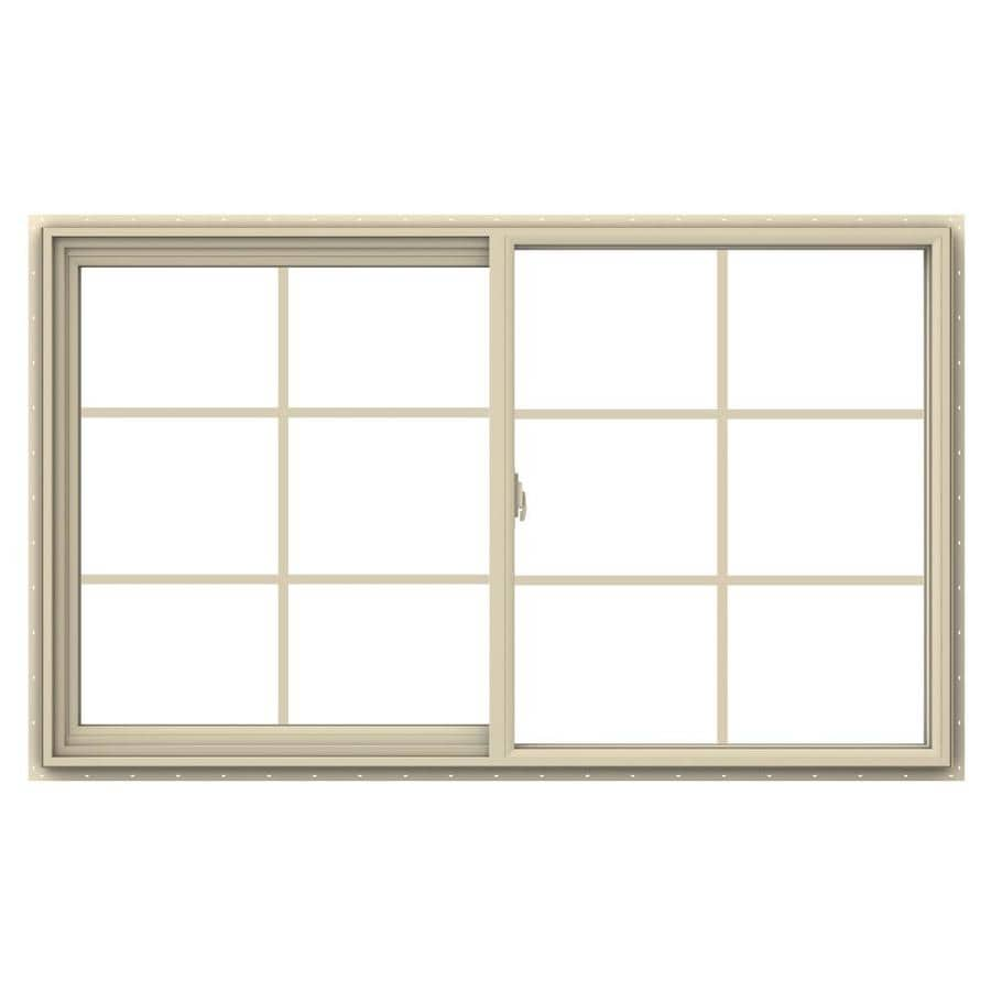 JELD-WEN V-2500 Left-Operable Vinyl Double Pane Annealed Sliding Window (Rough Opening: 60-in x 36-in; Actual: 59.5-in x 35.5-in)