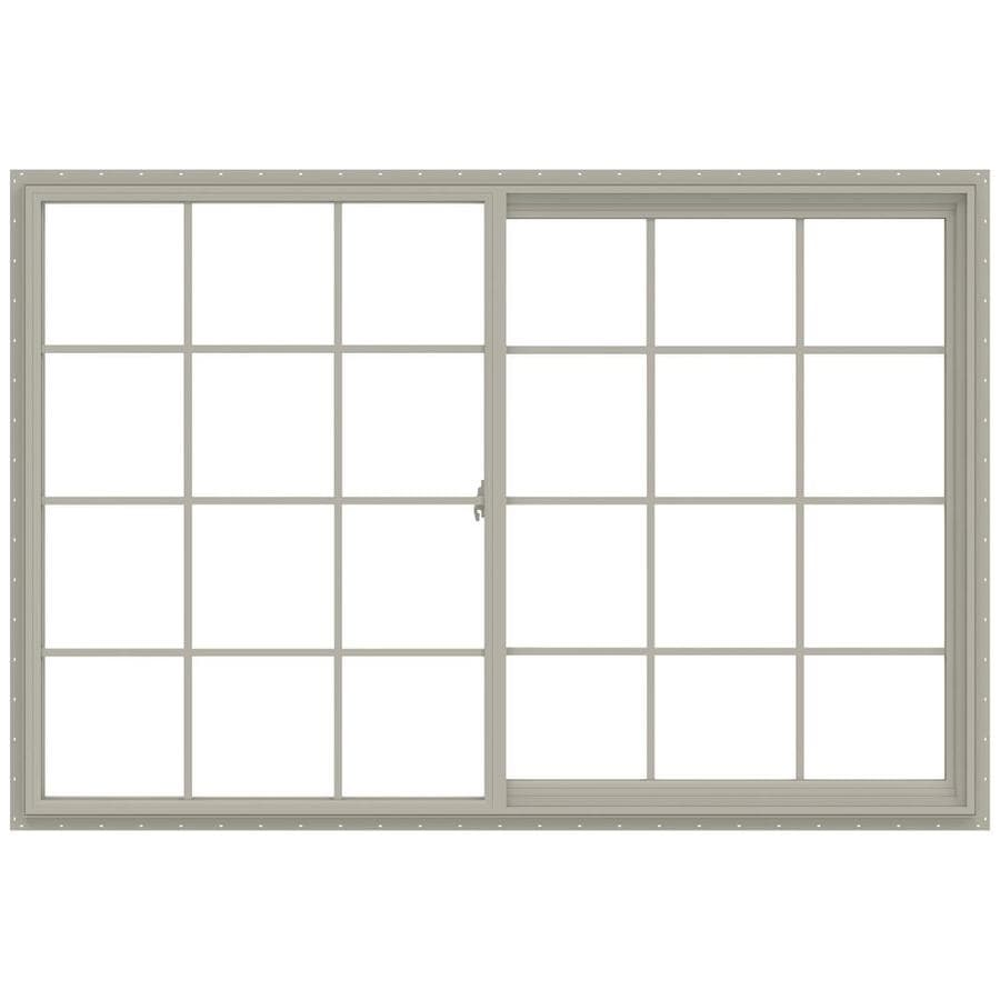 JELD-WEN V-2500 Right-Operable Vinyl Double Pane Annealed Sliding Window (Rough Opening: 72-in x 48-in; Actual: 71.5-in x 47.5-in)