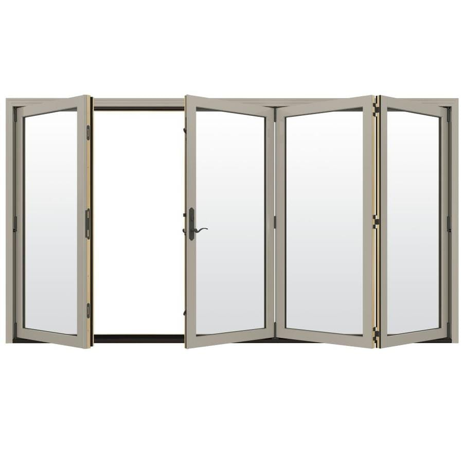JELD-WEN W-4500 124.1875-in Clear Glass Desert Sand Wood Folding Outswing Patio Door