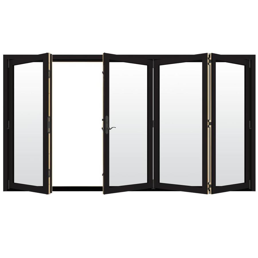 JELD-WEN W-4500 124.1875-in Clear Glass Black Wood Folding Outswing Patio Door