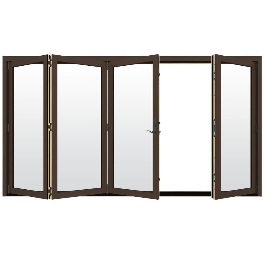 JELD-WEN W-4500 124.1875-in Clear Glass Dark Chocolate Wood Folding Outswing Patio Door